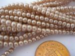 Glass Pearl Beads Pale Brown 3mm